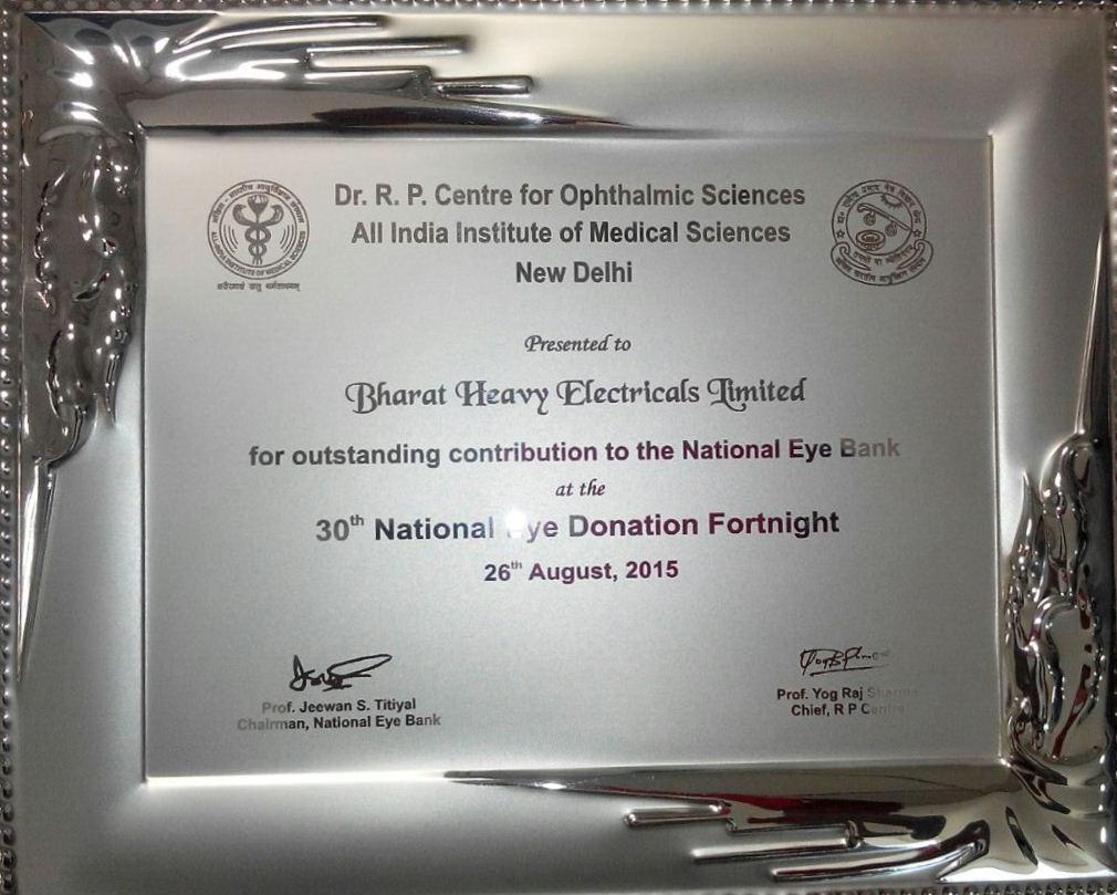 बीएचईएल को राष्ट्रीय नेत्र रोग पखवाड़े में योगदान के लिए डॉक्टर आरपी सेंटर फॉर ऑप्थेलमिक साइंसेज, एम्स, नई दिल्ली से मान्यता प्राप्त हुई। की छवि