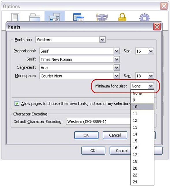 Image of Font dialog box