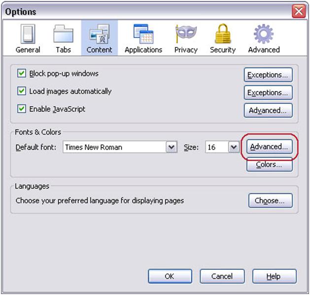 Image of fonts-options